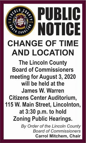 3 - Lincoln County Comm - Change of Meeting